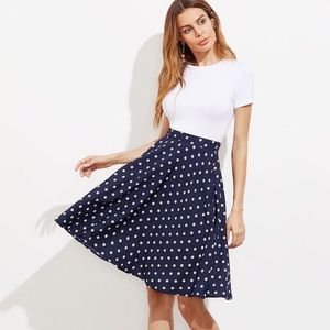 Navy Polka Dot Circle Skirt